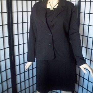 EILEEN FISHER Black 2 PC Suit Dress/Jacket Sz M